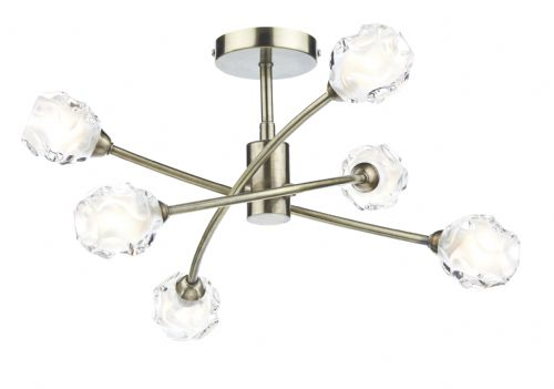 0.1) Seattle 6 Light Semi Flush Antique Brass (Class 2 Double Insulated) BXSEA0675-17